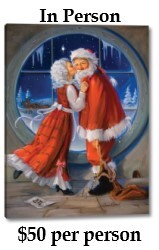 Santa and Mrs. Claus share a romantic moment in front of a frosty, round window.